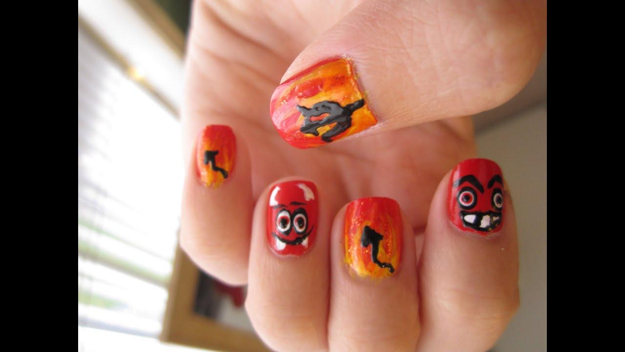 Devil Fire Nails Halloween Nail Art Youtube