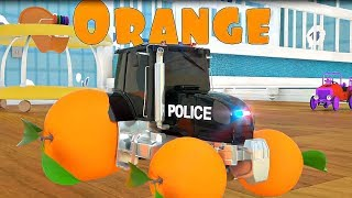 Learn Colors with Police Cars Truck Swap Tyres   Tractor Cartoon for Kids