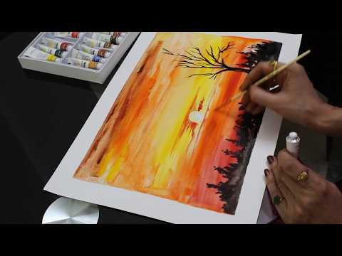 Easy Watercolor sunset For Beginners