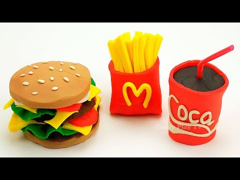 Play Doh McDonald's Hamburger Fries Cola Can Restaurant Playset | Learn Colors Play Doh Lesson 2