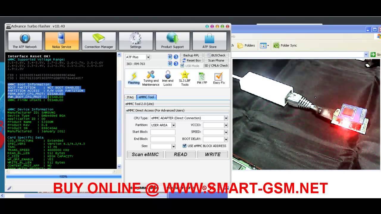 ATF JTAG PLUS EMMC DIRECT TOOL Using ATF 4 in 1 JTAG EMMC ISP MMC Adaptor