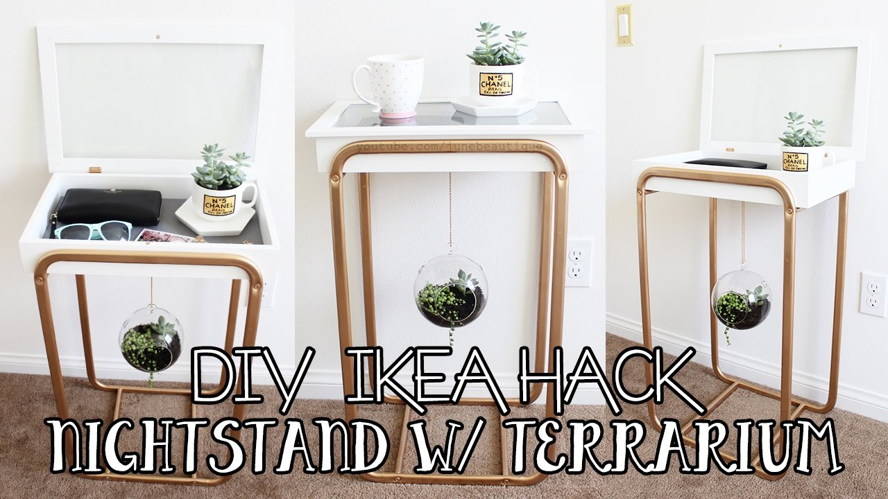 terrarium furniture. diy ikea hacks: nightstand with hanging succulent terrarium | furniture hack c