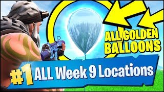 POP 10 GOLDEN BALLOONS *ALL 10 LOCATIONS* (Fortnite Season 7 Week 9 Challenges)
