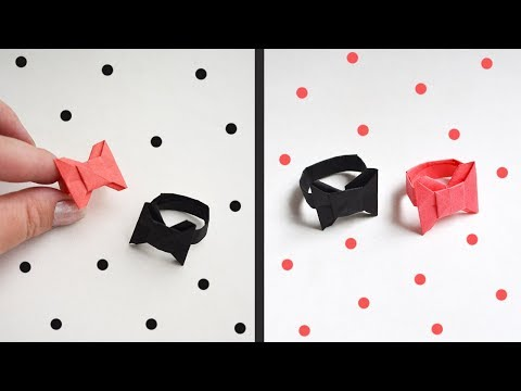 "Paper RING ""Bow Tie"" Origami Tutorial DIY Jewelry"