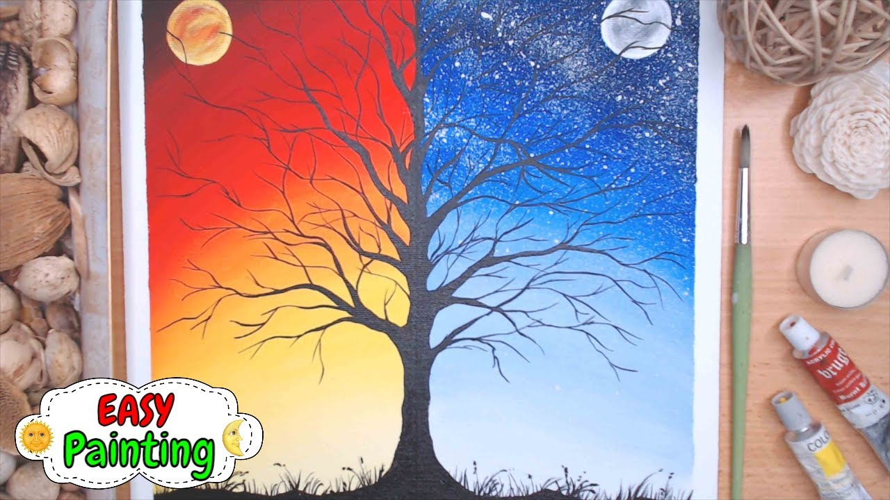 Day 185 And Night Painting With Warm Cold Colors Acrylic Asmr Wow Art Easy Demo Youtube