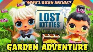 LOL Surprise Dolls Garden Adventure with Lost Kitties! Featuring Sugar Queen, Curious QT & Honeybun!