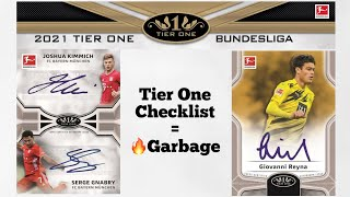 2020/21 Topps Tier One Bundesliga Checklist Review - Release Day Garbage!