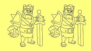 How to draw Clash of Clans characters Barbarian King | Как нарисовать Clash of Clans