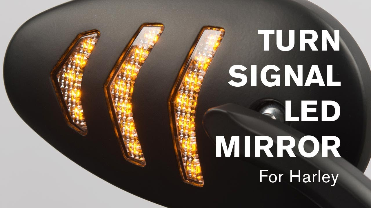 Motorcycle Led Turn Signal Mirror For Harley Arrow Black