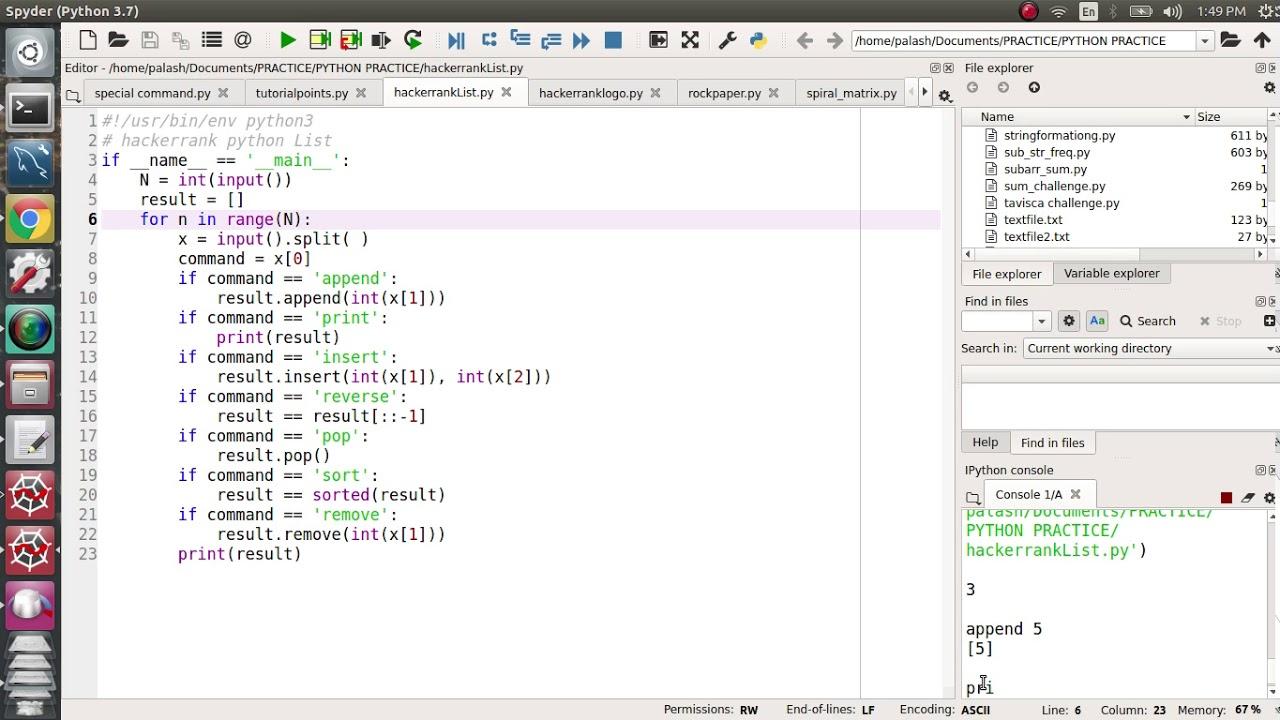 23  HackerRank list (Interview coding question) in python