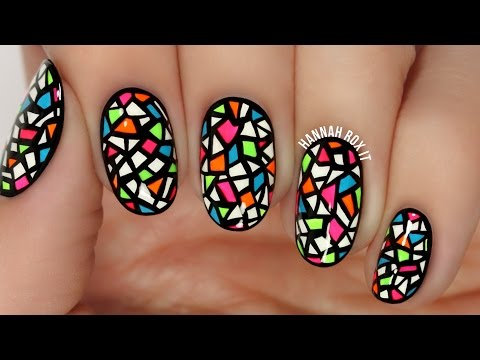 Neon Stained Glass Nail Art (freehand!)