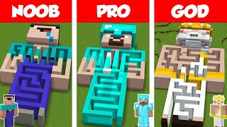 Minecraft NOOB vs PRO vs GOD: STATUE MAZE HOUSE BUILD CHALLENGE in Minecraft / Animation