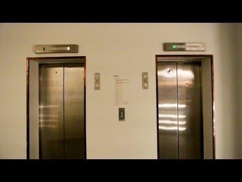 High-rise 1985 KONE & 1978 TS-Schlieren scenic elevators @ Hotel**** Comwell Hvide Hus in Aalborg DK