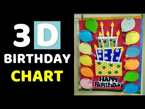 3D Birthday Chart For Classroom L  Birthday Bulletin Board Ideas L Birthday Chart For School