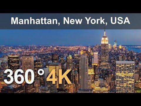 360° , Manhattan, New York, USA, 4K aerial