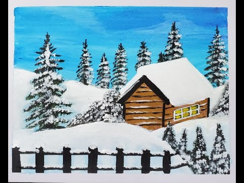 Winter Landscape painting tutorial/Easy Acrylic painting for beginners/step by step