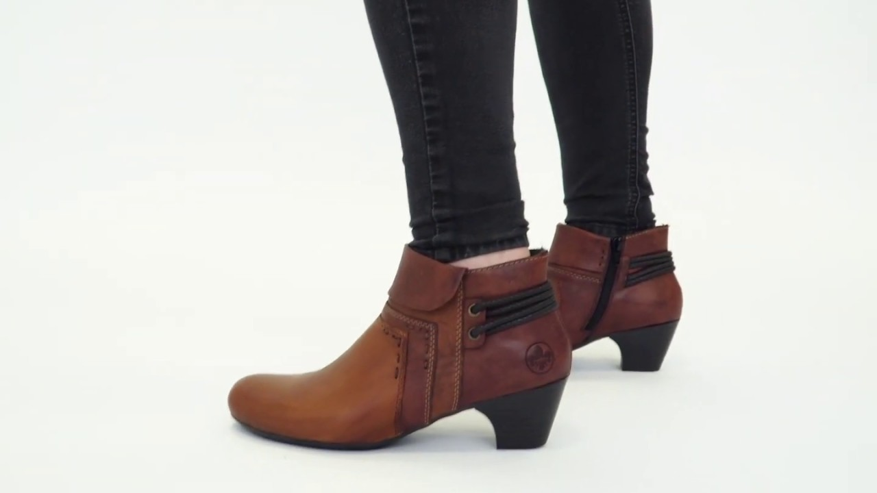 70570 24 Ladies Block Heel Ankle Boots BrandyBrown ElPun