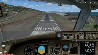 767 vuelo sobre la isla Madeira,aterrizaje en cabina (cockpit) FSX
