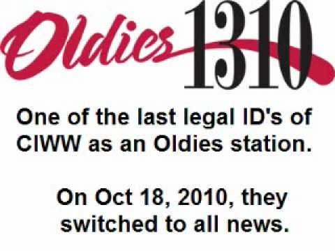 CIWW 1310 - Legal ID as Oldies 1310 October 2010