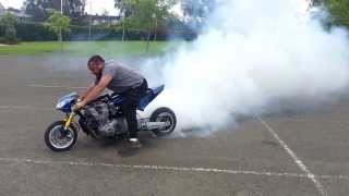 1000cc Pocket/Mini Bike burnouts and drag start.