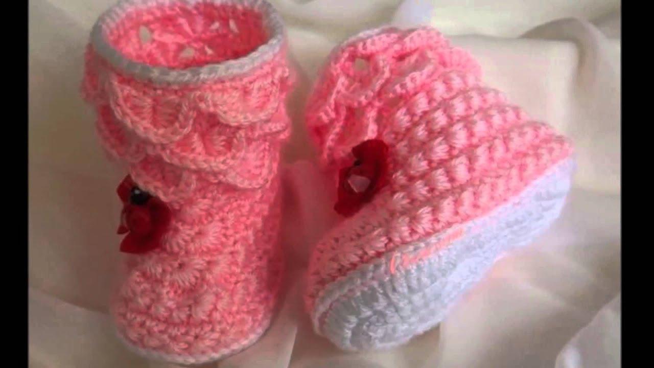 Botitas tejidas a crochet para recien nacido youtube - Adornos para bebe recien nacido ...