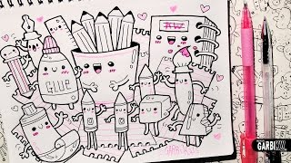 Back To School - School Supplies - How To Draw Kawaii Doodles by Garbi KW