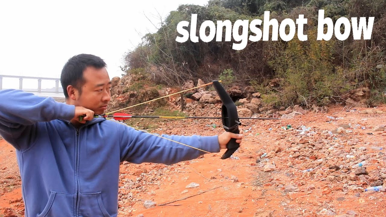 小伙发明奇葩武器,能射箭能射弹丸,箭弓slingshot bow test
