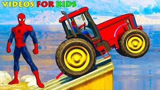 Tracteurs Drôles Et Voitures De Couleur Pour Enfants Avec Spiderman - Vidéo Pour Les Enfants