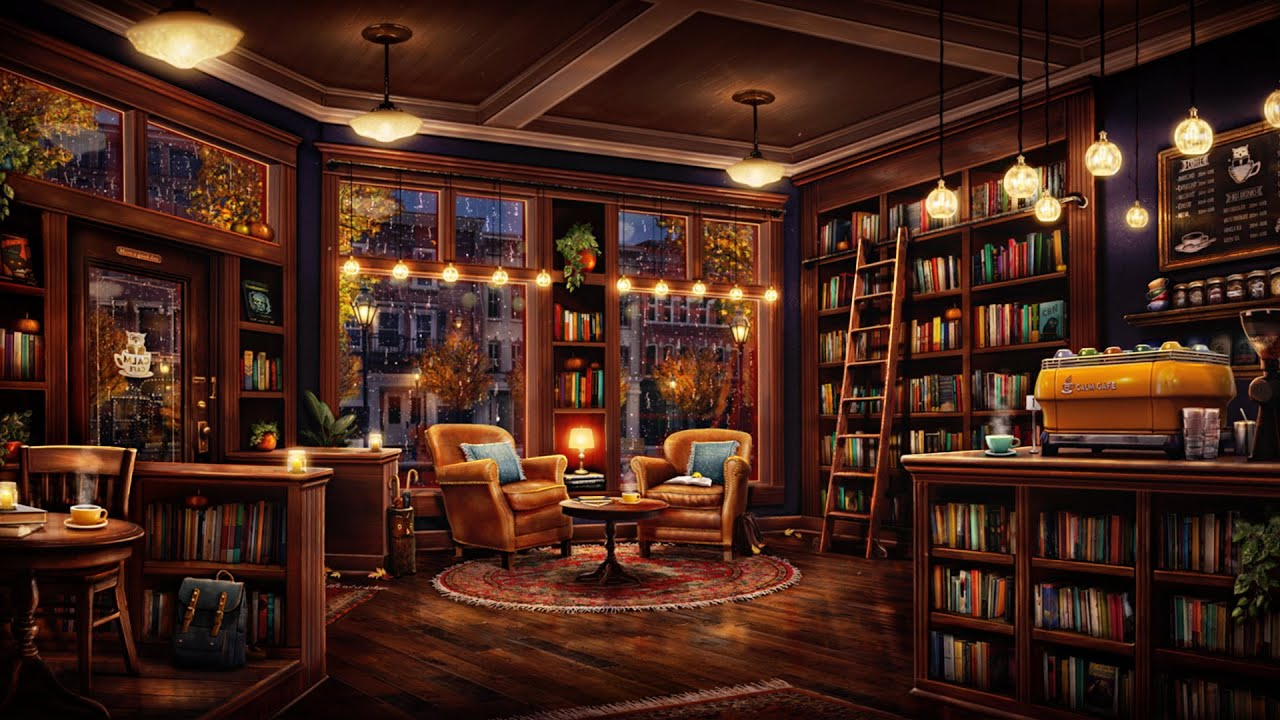 Download Fall Coffee Shop Bookstore Ambience with Relaxing Jazz Music & Rain Sounds