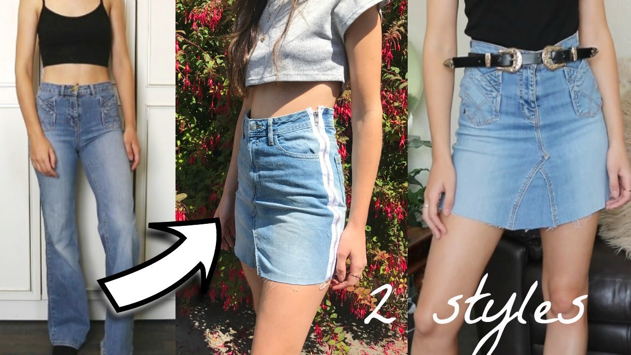 DIY CLOTHES- OLD JEANS INTO SKIRT - YouTube