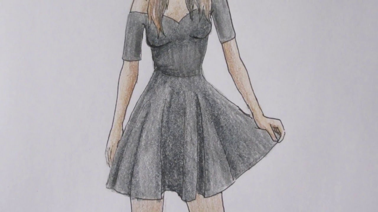how to draw a girl in a black dress youtube