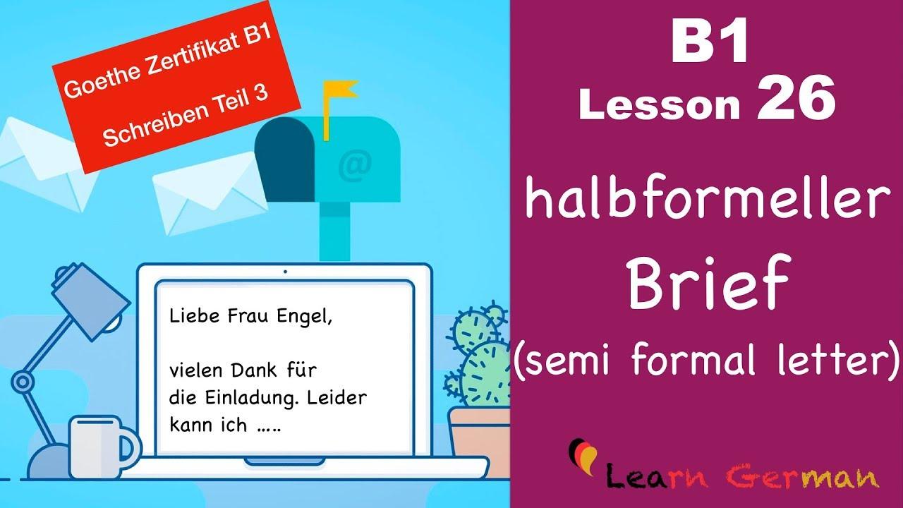 B1 Lesson 26 Brief Schreiben Halbformell Goethe Zertifikal