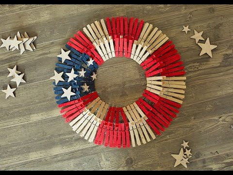 Stars and Stripes Americana Clothespin Wreath Tutorial ...