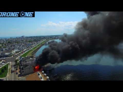 Aerial view of massive Wildwood Crest blaze captured by drone