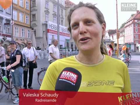 Radreisende nach 87.000 km zurück in Graz