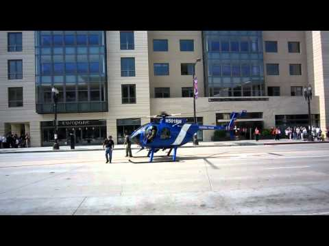 Police Helicopter Take-Off from Colorado Blvd, Pasadena, California