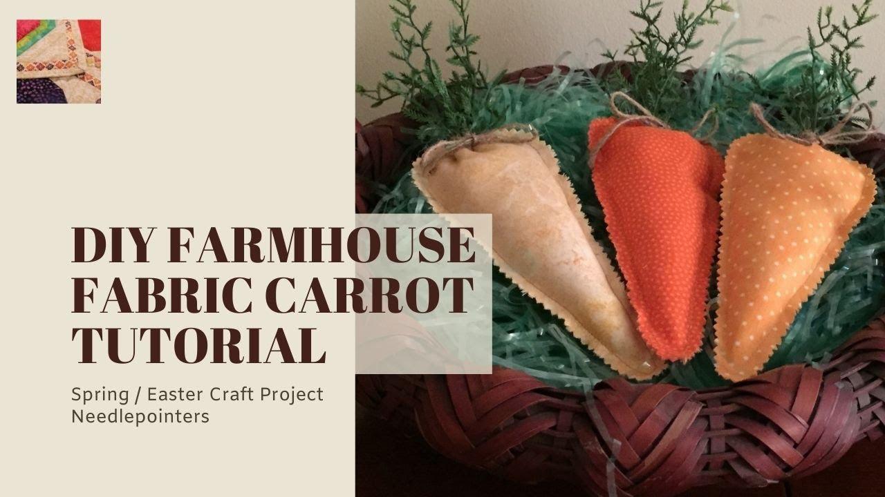Set of 5 Farmhouse fabric Easter carrots