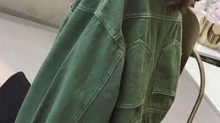 여자 여성 가오리 소매 청자켓 청카바 칼라 숏 자켓 바…