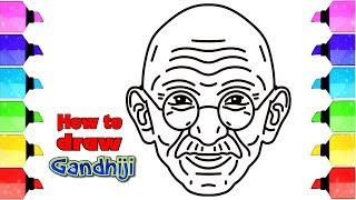 How to draw gandhiji in easy method for kids