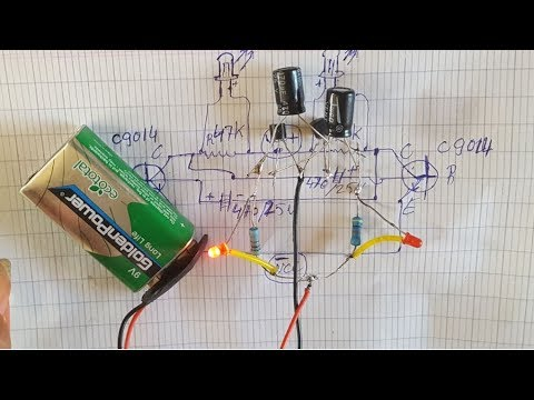 How To Make A Transistor Led Flasher At Home Using 2 Pieces Of Transistor C9014