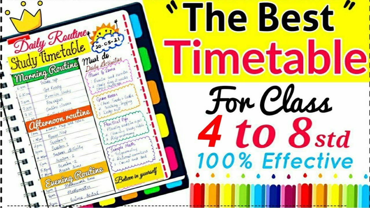 ✨Topper Student Timetable |The Best Time Table for class 4 to 8 | Online /offline class timetable🌟