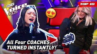 The GREATEST ALL-CHAIR-TURN Blind Auditions in The Voice Kids 2021! 🤩 | Top 10
