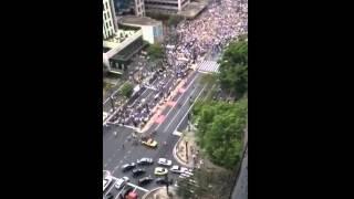 """Avenida Paulista é tomada pela """"Onda Azul"""""""
