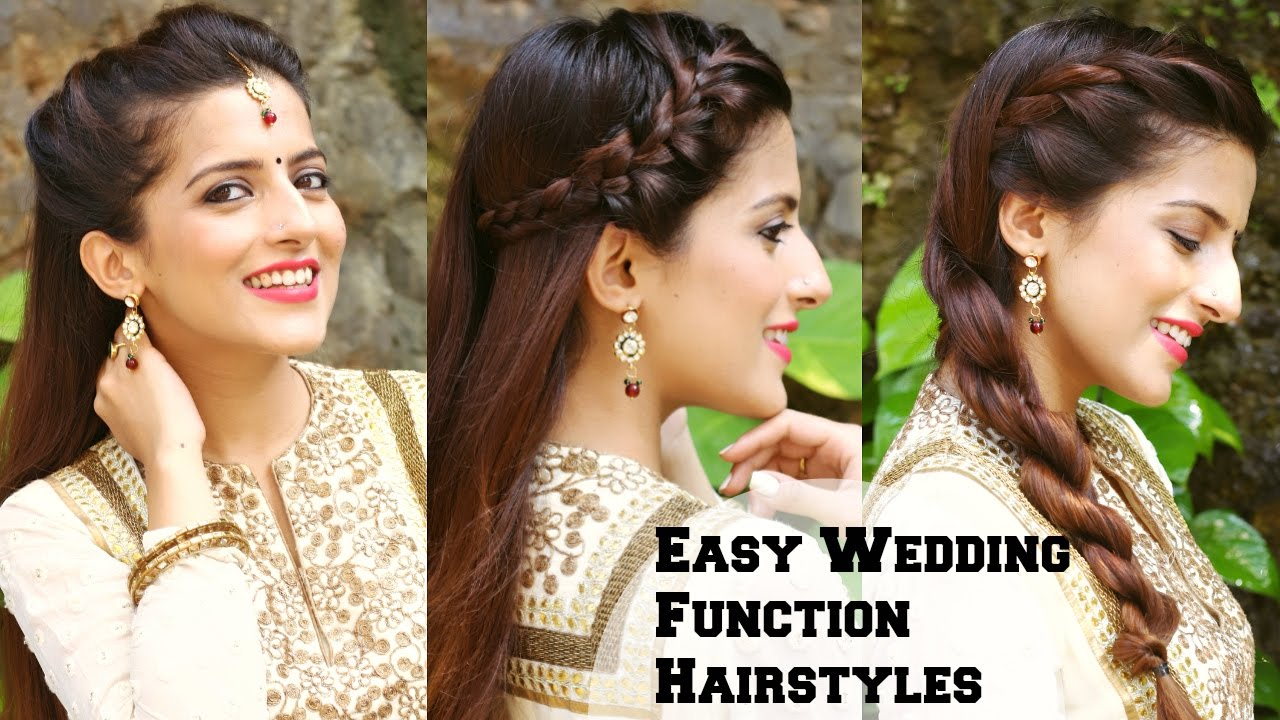 3 Easy Hairstyles For Indian Wedding Occasions For Medium Hair Indian Party Heatless Hairstyles