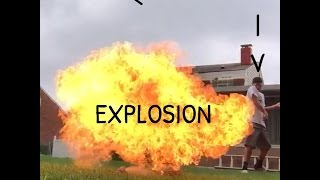 Blowing up Axe Can. HUGE EXPLOSION!