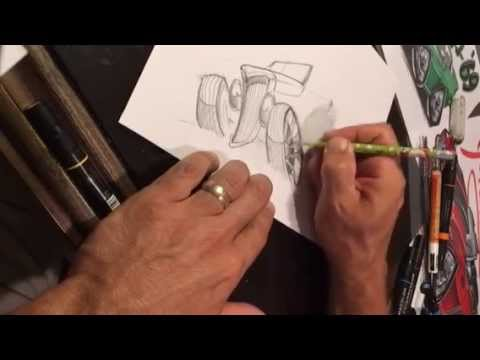 How To Draw A Hot Rod Part1 Pencil