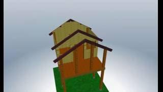 Zusammenbau eines Stelzenhauses