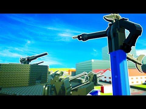 GIANT MECHA SHARK DESTROYED BY HUGE GUN BASE IN BRICKSVILLE - Brick Rigs Workshop Creations Gameplay