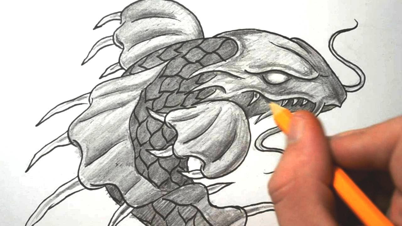 How To Draw A Dragon Koi Fish