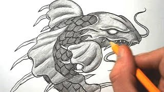How to Draw a Dragon Koi Fish - Quick Sketch
